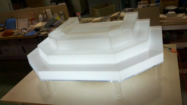 Custom shaped acrylic LED liquor rack for Binghamton restaurant