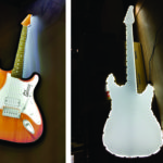 Laser cut guitar light guide assembly used for creative signage – Before and after
