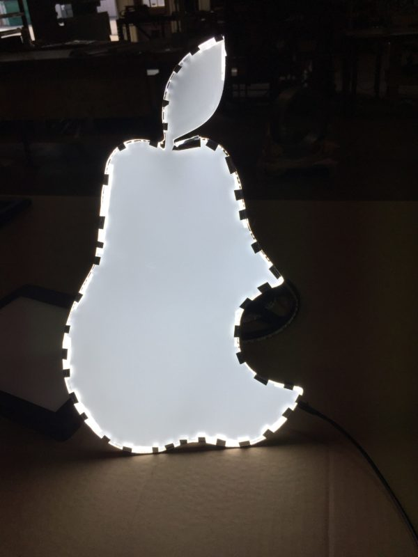 Laser-cut Pear-shaped LED Light guide