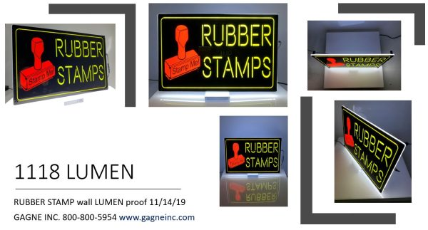 Rubber Stamp LED Lumen Sign
