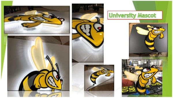 Laser Cut and CNC Routed LED Lumen Sign – University Mascot